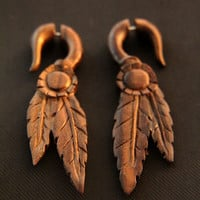 Apache Style Leaf Carving in Wood Earrings, Ethnic Fake Gauges Wooden Earrings Made from Sono Wood