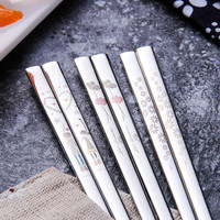 Portable 304 Stainless Steel Korean Chopsticks Spoon Dinner Set Personalized Laser Engraving Patterns Square With Gift Bag
