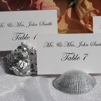 Silver Sea Shell Place Card Holders