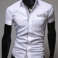 Shirt Collar Placket Design Short Sleeve Shirt