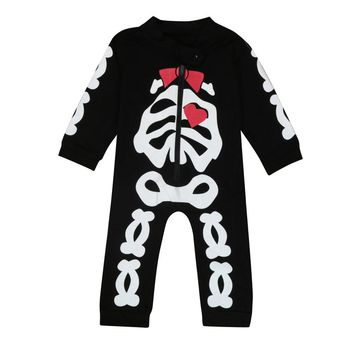 Newborn Kids Baby Boy Girl Clothes Skeleton Romper Jumpsuit Outfits Infant skull printed clothing rompers