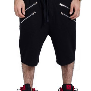 French Terry Embossed Shorts in Black