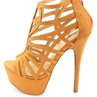 Caged Laser Cut-Out Platform Heels