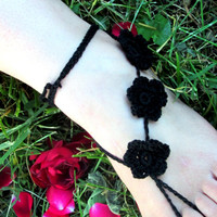 Black Flower Crochet Barefoot Sandals, Soleless Sandals, Beachwear, Yoga, Bohemian Foot Jewelry, Hippie Shoes, Gothic
