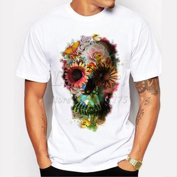 2017 Newest men's fashion Floral sugar skull printed t-shirt Harajuku funny tee shirts Hipster O-neck cool tops high quality