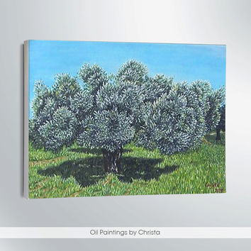 OLIVE TREE painting, Oil painting 8x12i, Landscape, Green, Blue, Greek art, Wall decor,gift idea, canvas, , Free shipping, ART