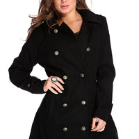 Black Double Breasted Pea Coat Outerwear