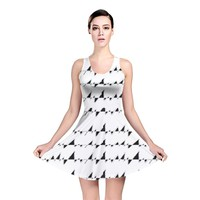 Black And White Wavy Stripes Pattern Reversible Skater Dress