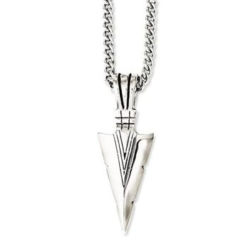 Stainless Steel Polished And Antiqued Dagger 22in Necklace