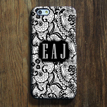 Black White Lace Floral Monogram iPhone 6s Case iPhone 6 plus Case Custom iPhone 5S Case iPhone 5C Case iPhone 4S Case Galaxy S6 Case 101