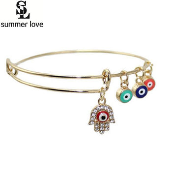 Turkey talisman fashion evil eye bracelet hamsa/evil eye charm bracelet bangle expandable wiring bracelet femme gift for love
