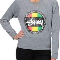 Stussy Rasta Dot Crop Crew Neck Sweatshirt