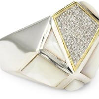 "Kara Ross ""Pyramid"" Mother-Of-Pearl and White Sapphires Gemstone Ring, Size 7"