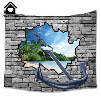 CHARMHOME Printed Tapestry Wall Broken Hole Anchor Dolphin Beach Style Woven Decorative Polyester Fabric Carpet Wall Tapestry