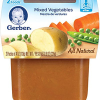 Gerber 2nd Foods Mixed Vegetables, 4 oz Tubs, 2 Count (Pack of 8)