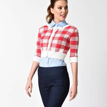 Collectif 1950s Red Gingham Half Sleeve Lucy Crop Cardigan