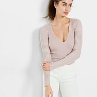 mixed rib v-neck long sleeve sweater