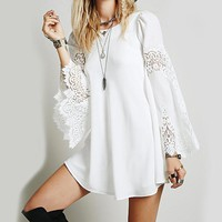 Women Summer Casual Loose Beach Style Lace Hollow Out Dress Girls Elegant White Flare Sleeve Big Swing Shift Dress Vestidos