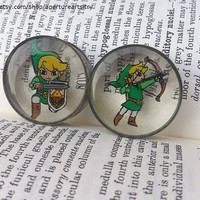 Pair of hand drawn detailed Zelda and Link plugs sizes 12mm and above.