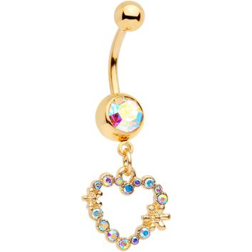 "14 Gauge 7/16"" Aurora Gem Gold Tone Heart Dangle Belly Ring"