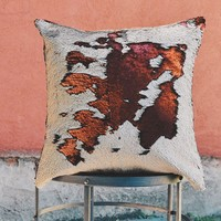 Matte Brick Red & Champagne Sequin Mermaid Pillow