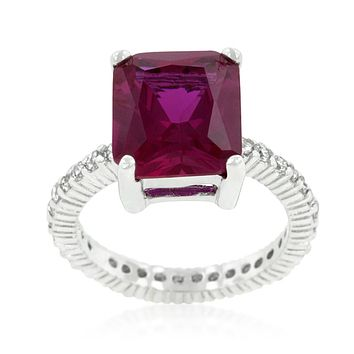 Marlene Pink Radiant Cut Engagement Cocktail  Ring | 7ct | Cubic Zirconia | Sterling Silver