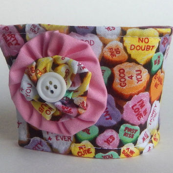 Candy Hearts Coffee Cup Cozy / Candy Pink Drink Sleeve / Conversation Hearts / Valentine's Day / Pop Up Shop