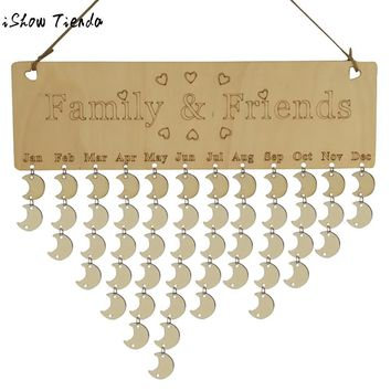 Wood Birthday Reminder Board Birch Ply Plaque Sign Family Friends DIY Calendar Christmas Santa Claus Artificial Wall Craft Decor