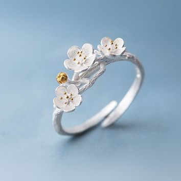ONETOW The cherry blossom branch resizable open ring in white copper silver plated, medium