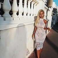 Lumi Elegant White Midi Bandage Lace Dress