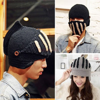 Men Women Boy Buttons Crochet Knit Ski Beanie Wool Roman Knight Hat Masks Cap 19307 Apparel & Accessories = 1645644484