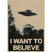 The X-Files Alien UFO retro Poster Retro Kraft Paper Bar Cafe Home Decor Painting Wall Sticker