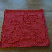 Hand Knitted Lovely Ladybug Lazy Daze Picture Dish Cloth or Wash Cloth