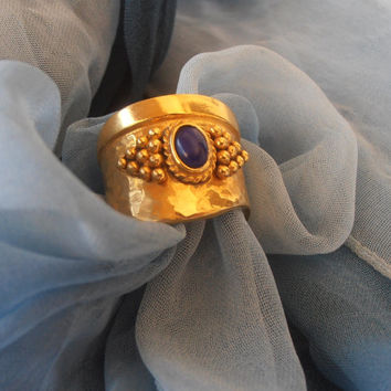 Vintage 14k Solid Yellow Gold Byzantine Style Ring