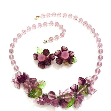 Venetian Glass Demi, Necklace Earring Set, Lavender Purple & Pink Flower Green Leaves, Lavender Beads, Wedding Jewelry, Special Occasion