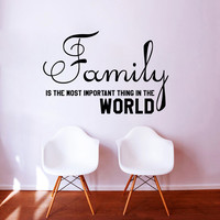 Wall Decal Quote Family Is The Most Important Thing In The World Design Wall Decals Bedroom Living Room Kids Window Stickers Home Decor 3966