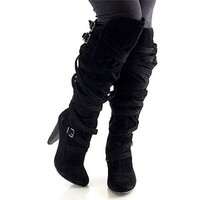 Fahrenheit Luga-05 Boots Women's Strappy Slouch Over The Knee Comfortable Boots