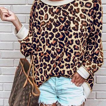 New Coffee Leopard Print Long Sleeve Round Neck Casual T-Shirt