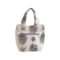 Vintage Floral Purple Lunch Tote