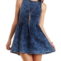 Acid Wash Skater Dress by Charlotte Russe - Med Acid Wash