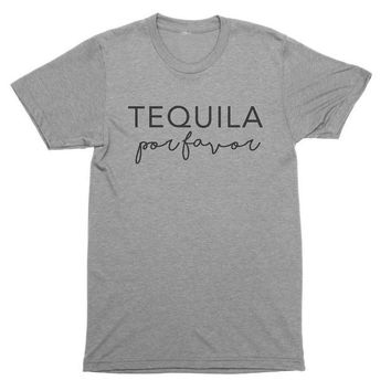Tequila Por Favor Funny Tequila Shirt Women Graphic Tee fashion slogan funny drinking lover quote Vacation Tshirt Workout Shirt