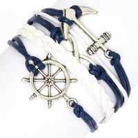 Simply Reese Navy & Silvertone Guided Wheel Braided Bracelet | zulily