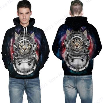 Cute Space Cat Skateboarding Sweartshirts Psychedelic Star Hooded Pullover Autumn & Winter Long Sleeves Tracksuits Mens Hoodies