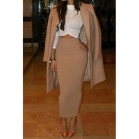 Elegant Solid Color High-Waisted Pencil Skirt For Women | Kitty's Clawset