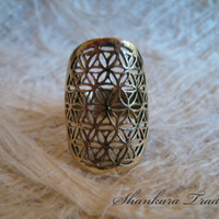 Tribal Brass Ring, Flower Of Life Ring, Sacred Geometry Ring, Yoga Jewelry