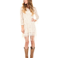 Women's Fringe Bottom Lace Tunic with a Crisscross Back and Belle Sleeve - Cream