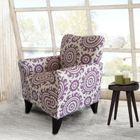 Purple Floral Accent Chair with Birch Wood Legs (Single)