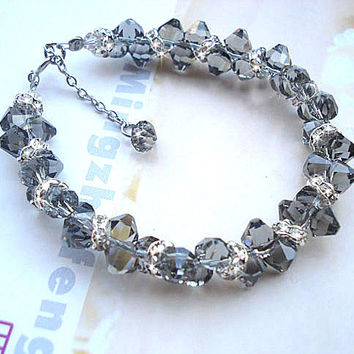 Phantom of the Opera Black Diamond Bracelet Austrian Crystal Sterling Silver