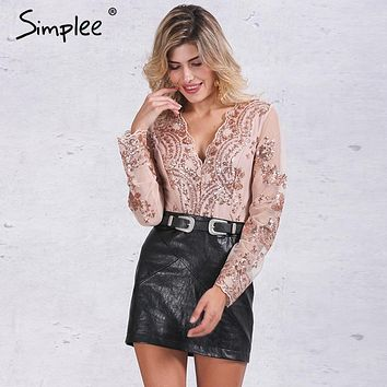 Simplee Apparel Golden sequin mesh bodysuit for women Transparent sleeve leotard bodysuit top V neck elegant jumpsuit romper