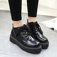 Hot Deal On Sale Thick Crust Platform Shoes England Style Vintage Shoes Round-toe Dr. Martens Boots [9138741767]